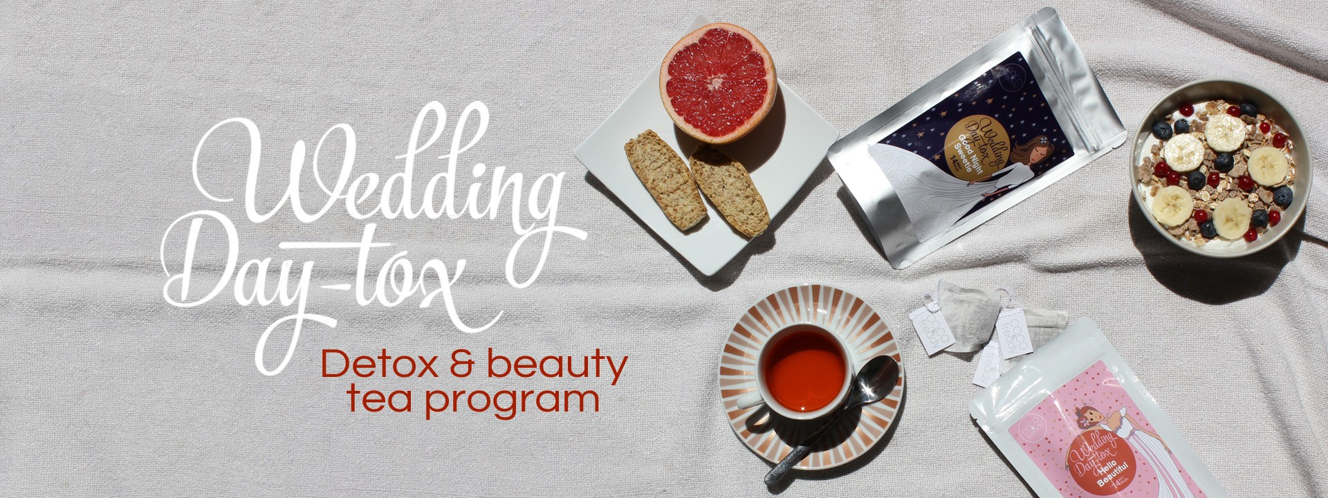 Wedding Day-tox, detox and beauty tea program to get ready for a wedding, when you're the bride, family or friend.