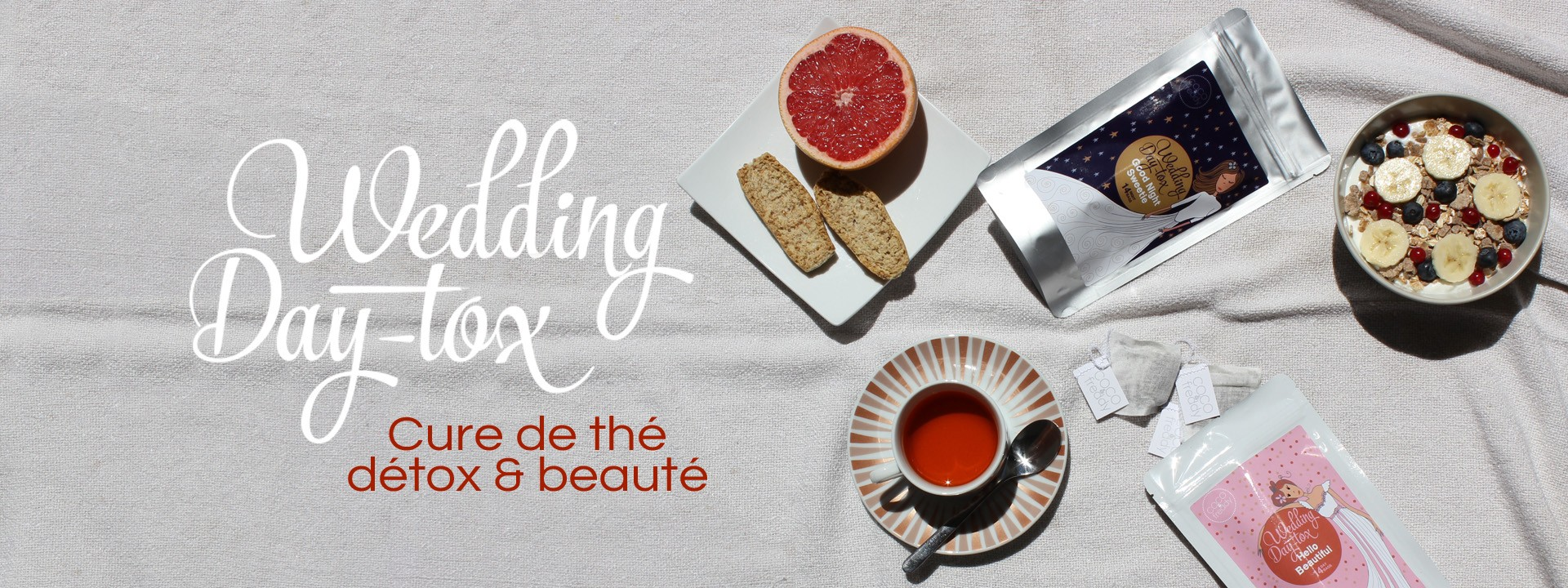 Wedding Day-tox, la première cure de thé et d'infusion détox et beauté pour préparer sereinement le mariage, que l'on soit la future mariée, demoiselle d'honneur ou invité.